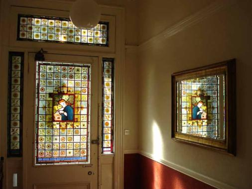 Repair and restoration stephen weir stained glass glasgow scotland repair and restoration of daniel cottier stained glass door and side panels glasgow west end planetlyrics Gallery